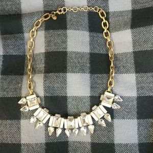 J Crew gold and crystal statement necklace